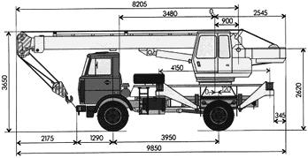 Размерный чертеж автокрана КС-3577-3