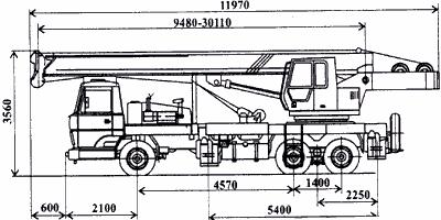 Размерная схема крана КС-5476