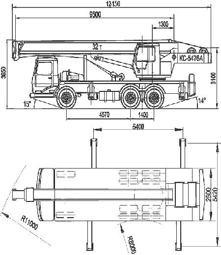 Габаритные размеры крана КС-5476А