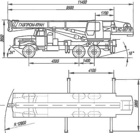 Габаритный чертеж автокрана КС-55716-1