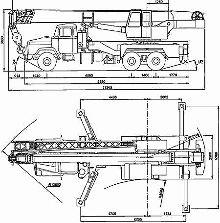Габаритный чертеж автокрана КС-557Кр