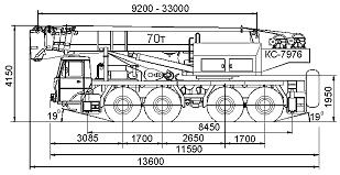 Габаритные размеры автокрана КС-7976